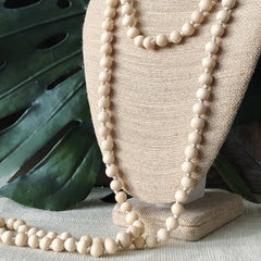 "Selma Long Wood Beaded 60"" Necklace"