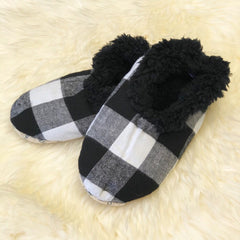 Kids Buffalo Check Snoozies! Slippers - White