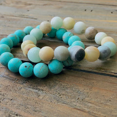 Semi-Precious Beaded Stretch Bracelet - 2 colors available