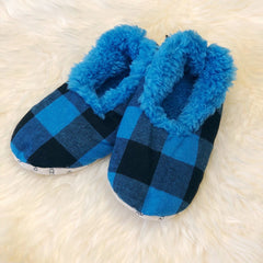 Kids Buffalo Check Snoozies! Slippers - Blue