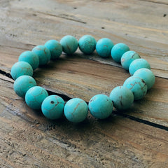 Semi-Precious Beaded Stretch Bracelet - Turquoise