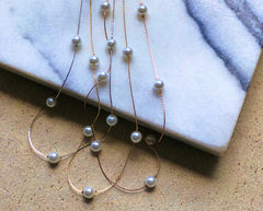 Pearl Station Long Necklace in Silver, Gold, Rose Gold
