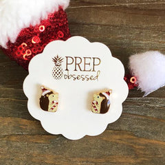 Smiling Christmas Hedgehog Holiday Stud Earrings