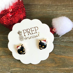 Christmas Hat Cat Signature Enamel Stud Earrings by Prep Obsessed