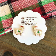 Christmas Tree Llama Signature Enamel Stud Earrings by Prep Obsessed