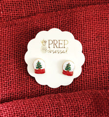 Christmas Snow Globe Signature Enamel Studs by Prep Obsessed