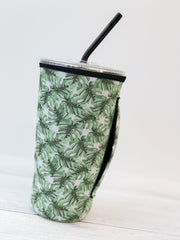 Insulated Cold Cup Sleeve with Handle - Palm Leaves