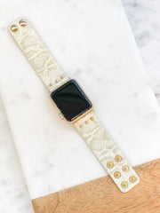 Leather Snakeskin Watch Band - Ivory Metallic