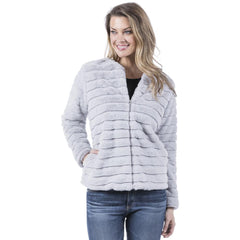 Gray Faux Rabbit Fur Jacket