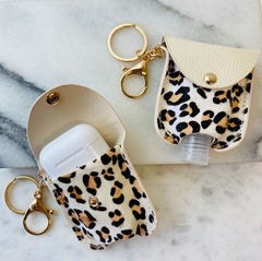 Hand Sanitizer & Air Pod Case Key Chain - Leopard