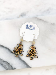 Leopard Christmas Tree Dangle Earrings