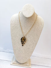 Long Leopard Pendant Necklace with Topaz Stone - Brown