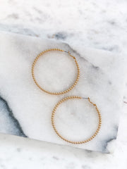 Lindie Gold Beaded Hoop Earrings