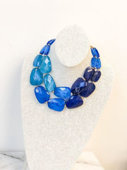 Sienna Double Layer Beaded Statement Necklace - Cobalt
