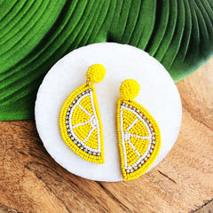 Lori Beaded Lemon Statement Earrings