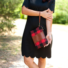 Red Buffalo Check Hayden Wristlet