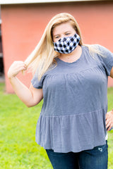 Adult Printed Face Mask - White Buffalo Check
