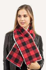 Sherpa Quilted Buffalo Check Scarf