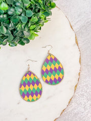 Mardi Gras Harlequin Print Statement Earrings