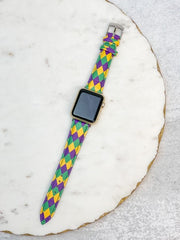 Mardi Gras Harlequin Print Leather Watch Band