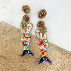 Mermaid Beaded Statement Earrings - Multi