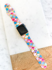 Mermaid Scales Printed Silicone Smart Watch Band