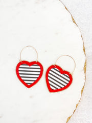 Mia Striped Heart Statement Earrings - Black and White