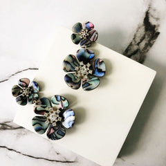 Michelle Avalon Flower Statement Earrings - Abalone