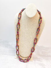 Seed Bead Link Long Necklace - Multi