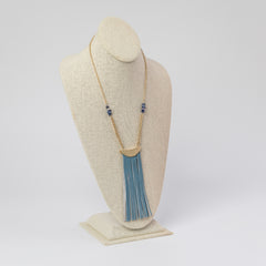 Shaye Leather Blue Tassel Long Necklace