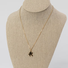 Dainty Puzzle Piece Charm Necklace - Gold