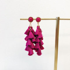 Natalia Tassel Statement Earrings - Fuchsia