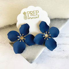 Amelia Flower Statement Earrings - Navy