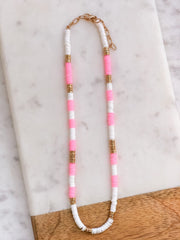 Pink and White Rubber Disc Necklace