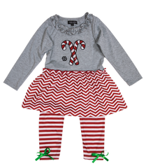 Toddler 'Candy Canes' Dress Set by Simply Southern