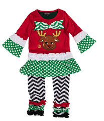 Toddler 'Reindeer' Dress Set by Simply Southern