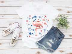 'Patriotic Flamingo' V-Neck Signature Graphic Tee (2-3 Week Production Time)