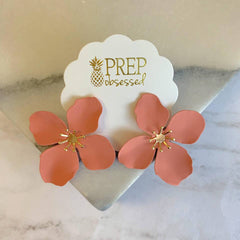 Amelia Flower Statement Earrings - Peach