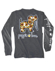 'Sunflower Pup' Long Sleeve Tee by Puppie Love