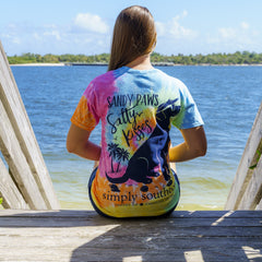 'Sandy Paws Salty Kisses' Tie Dye Short Sleeve Tee by Simply Southern