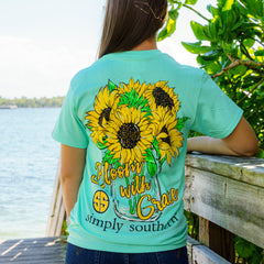 'Bloom with Grace' Sunflower Short Sleeve Tee by Simply Southern