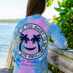 'Life Is Too Short to Be Anything But Happy' Tie Dye Long Sleeve Tee by Simply Southern