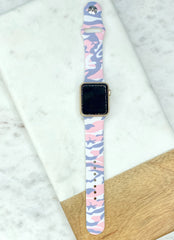 Pink Camouflage Printed Silicone Watch Band
