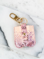 Hand Sanitizer & Air Pod Case Key Chain - Pink Snakeskin