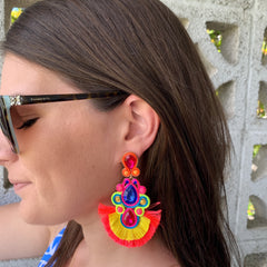 Martina Pink Neon Statement Earrings