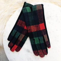 Smart Gloves - Red and Green Plaid