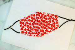 Adult Red Heart Printed Face Mask