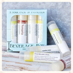 'Beverage Box' Assorted Boozy Lip Balms - Sangria, Pina Colada, Margarita, Chardonnay by Rinse