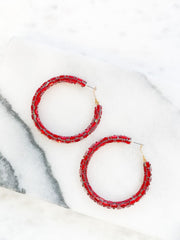 Glitzy Baguette Hoop Earrings - Red