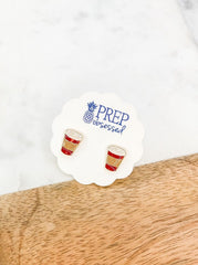Red Coffee Cup Signature Enamel Studs by Prep Obsessed